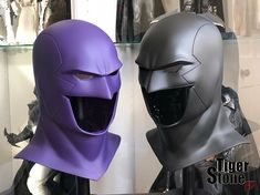 Our earless comic cowl in a dark purple and black. We were told the purple one is for a Phantom cosplay the black ones for Red Robin - Cast in VytaFlex Robin Cosplay, Robin Costume, Batman Cosplay, Superhero Cosplay, Robin Mask, Batman Cowl, Space Ghost, Ninja Warrior, Batman Beyond