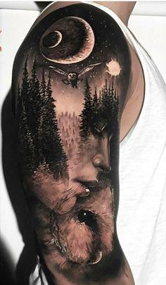 Realistic Tattoo Sleeve, Nature Tattoo Sleeve, Wolf Tattoo Sleeve, Best Sleeve Tattoos, Tattoo Sleeve Designs, Tattoo Nature, Galaxy Tattoo Sleeve, Forest Tattoo Sleeve, Natur Tattoo Arm