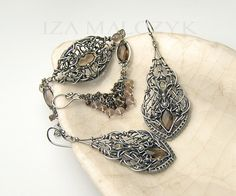 Edesia jewelry set silver and smoky quartz. Iza Malczyk, wire-wrapping, wire-layering, wire-sculpting, earrings, bracelet