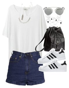 """""""Outfit for summer with a backpack and superstars"""" by ferned ❤ liked on Polyvore featuring Acne Studios, H&M, adidas, Forever 21, Christian Dior, women's clothing, women, female, woman and misses"""