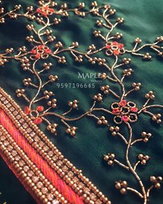 Order contact my WhatsApp number 7874133176 Hand Work Design, Hand Work Blouse Design, Simple Blouse Designs, Fancy Blouse Designs, Bridal Blouse Designs, Aari Work Blouse, Kurti Embroidery Design, Embroidery Neck Designs, Hand Work Embroidery