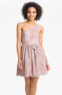 Jill Stuart One Shoulder Lace Fit & Flare Dress available at #NordstromWeddings