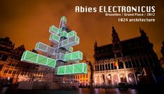 Version 2.0 An architectural sculpture as a reinterpretation of the classical XMAS Tree, an artificial and ecological Tree augmented with lights, sound and visuals .  The tree trunk is also a belvedere to see the city from above.  The project was located on the Grand Place of Brussels, and ran during december 2012 every day at night.  More info on www.1024architecture.net or on our blog:   www.1024d.wordpress.com
