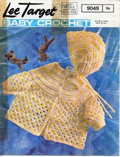 "baby crochet coat & bonnet baby crochet pattern pdf download baby crocheted matinee jacket cardigan 18-20"" DK light worsted 8 ply by Minihobo on Etsy"
