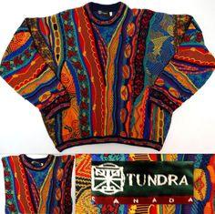 Men's TUNDRA CANADA Sweater Crewneck Cosby Coogi Style Multicolor Cotton XL Sold