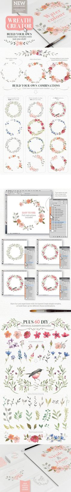 Watercolour Wreath Creator (Photoshop and Illustrator) Wreath Watercolor, Watercolor Flowers, Brush Lettering, Digital Scrapbook Paper, Design Bundles, Creative Design, Design Elements, Illustration, Doodles