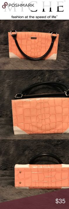 """🔴 Gone 7/28! Classic Peach, Cream and Black MICHE Interchangeable Tote. Zip top closure opens to a roomy compartment with a zip pocket.  Approximate size 12""""L x 5""""W x 7""""H and 7"""" handles. Excellent Condition. Gone 7/28! Miche Bags Totes"""
