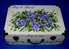 Decorative Personalized Wood Wedding Card Box, Custom Floral Large Suitcase Trunk, Memory Box, Hydrangea Bridal Shower Gift For Her Hand Painted Box Decorative Wood Wedding Keepsake Card Box Suitcase Trunk Shabby Chic Bridal Shower Gift Purple Hydrange. Wedding Cards Keepsake, Wedding Gift Card Box, Gift Card Boxes, Wedding Keepsakes, Wedding Boxes, Personalized Wedding, Wedding Ideas, Wedding Flowers, Wedding Dresses