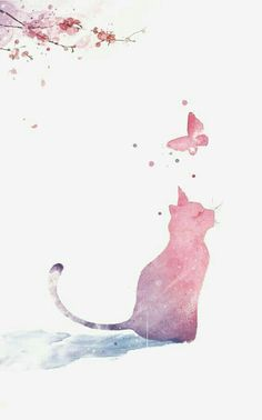 54 Ideas Wall Paper Cat Illustration Backgrounds For 2019 Cat Wallpaper, Galaxy Wallpaper, Flower Wallpaper, Wallpaper Backgrounds, Iphone Wallpaper, Wallpaper Quotes, Watercolor Cat, Watercolor Paintings, Art Mignon