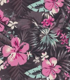 Tropical Fabric- Brown Pink Floral Shirting Fabric