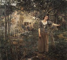 painted in 1879  by Jules Bastien Lepage - Joan of Arc. Sure, she's witchy and speaks in tongues, but she was a total babe.