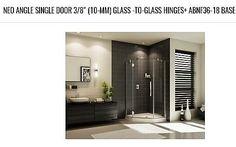 FLEURCO's PLATINUM, Neo angle single doorHandle, door opens left+Neo Angle Acrylic Shower Base - White