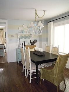 striped walls dining area