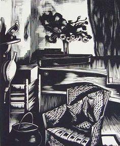 """Interior"" by John Nash, 1925 (wood engraving) Black And White Posters, Black White Art, John Nash, Still Life Artists, Wood Engraving, Print Artist, Printmaking, Graphic Art, Art Drawings"