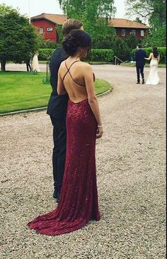 Sexy Backless Prom Dresses, Sequined Prom Dresses, Dark