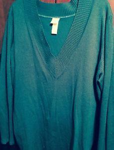 Womens XL V Neck Pullover Aqua Teal Sweater Full Cut Comfy Nice Free Shipping | eBay