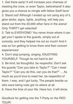 Tips on getting into T-Party/Club Red/(whatever Taylor is going to name it this time)