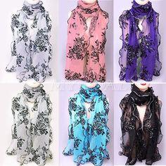 Fashion Women Ladies Lace Chiffon Long Scarf Soft Wrap Voile Flower Shawl Stole #Stole