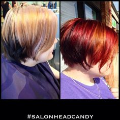 """We love when our clients ask for """"bright ass"""" hair color! Robin gave this awesome client a deep plum hair color base with multi dimensional bright copper and bright red hair color blockings on top and a straight razor cut for edgy texture! Wella KP base: 44/65, A: KP 7/43+/33 B 55/46+/45 Color ID for blocking! #salonheadcandy #makeover #njhair #beforeandafter #bumbleandbumble #brighthair #haircolor #salonlife #shorthair #shorthairdontcare #trendyhair #transformation #redhair #copperhair…"""