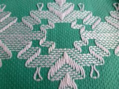 Sweedish Huck Embroidery Towel Sea Green with by Cleverlasting