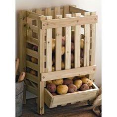 Contenitore distributore in legno di patate