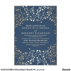 Gold Foil Effect Navy Baby's Breath Wedding