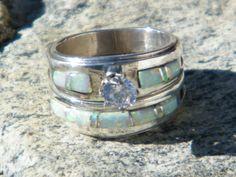 Native American Indian Navajo Wedding Rings Band White Opal CZ Muskett Sz 6 1/2