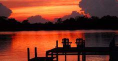 bold sunset on waterfront