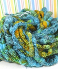 Handspun Art Yarn- SeaGrass- Signature WildPlied Artisan Yarn. $52.00, via Etsy.