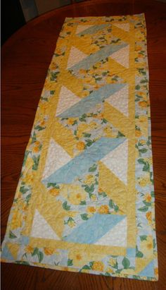 Table Runner Sunny Blue Ribbon 19 x 54 by MaryMackMadeMine on Etsy, sold