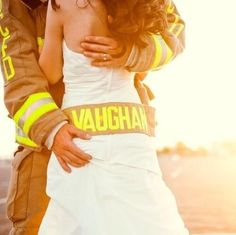 Fire fighting wife ❤❤❤  wish i would have thought of this on my wedding day:)
