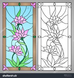 Find Vector illustration with flowers: lotus, water lily, magnolia in Stained glass window. Stock Images in HD and millions of other royalty-free stock photos, illustrations, and vectors in the Shutterstock collection. Stained Glass Quilt, Stained Glass Flowers, Stained Glass Crafts, Faux Stained Glass, Stained Glass Designs, Stained Glass Patterns, Glass Painting Patterns, Glass Painting Designs, L'art Du Vitrail