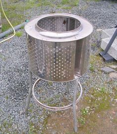 inside of washing machine as an outdoor firepit