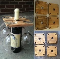 made of square wooden board Stand for glasses and bottle of wine tinker Wooden diy - Wooden crafts - Wooden Projects, Wooden Crafts, Wooden Diy, Diy Projects, Diy Crafts, Recycled Crafts, Diy Simple, Easy Diy, Homemade Wedding Gifts