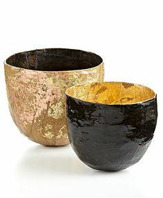 Heart of Haiti Bowl, Gold Papier Mache Bowl Set