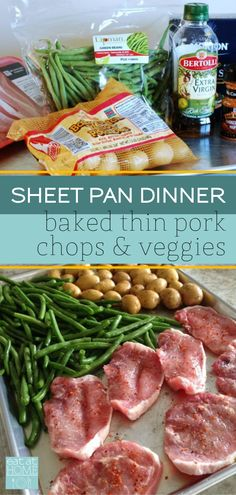 Baked Thin Pork Chops make this Chops and Veggies Sheet Pan Dinner quick, healthy and delicious. And - Baked Thin Pork Chops make this Chops and Veggies Sheet Pan Dinner quick, healthy and delicious. Pork Chop Dinner, One Pan Dinner, Sheet Pan Dinner, Dinner For 2, Boneless Pork Chops, Le Diner, Healthy Dinner Recipes, Healthy Dinner Meals, Healthy Supper Ideas