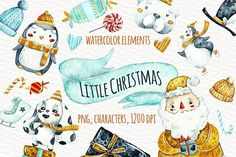 Watercolor little Christmas by talloshau's illustrations on @creativemarket