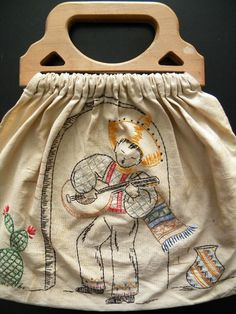 Vintage Embroidered Sewing Bag or Tote with Mexican Guitarist.
