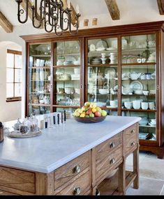 😍😍Love that large cupboard😍😍 This China Cabinet is an 11 foot antique hutch became an integral piece Kitchen TraditionalNeoclassical by Sarah Blank Design Studio Kitchen Pantry, Kitchen And Bath, New Kitchen, Kitchen Dining, Kitchen Decor, Kitchen Cabinets, Cupboards, China Cabinets, Kitchen Storage