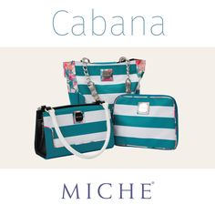 Our Cabana Collection. Teal and White Striped, solid teal back with floral piping. #Miche #handbags #purses