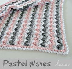 Pastel Waves (Leisure Arts - Our Best Baby Afghans) using Caron Simply Soft in White, Heather Grey and Soft Pink. Pastel Waves (Leisure Arts - Our Best Baby Afghans) using Caron Simply Soft in White, Heather Grey and Soft Pink. Plaid Au Crochet, Knit Or Crochet, Cute Crochet, Learn To Crochet, Crochet Crafts, Crochet Projects, Crotchet, Baby Afghan Patterns, Crochet Blanket Patterns