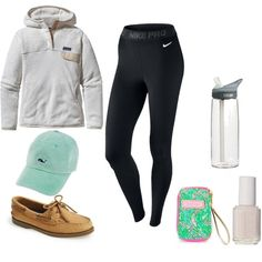 lazy prep by thevermontprep on Polyvore featuring Patagonia, NIKE, Sperry Top-Sider, Essie, CamelBak and Lilly Pulitzer
