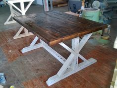 Please note: free local pickup and $55 local to your doorstep delivery. (New England region ONLY-MA, RI, CT, NY, NJ, NH, ME, VT)  Use coupon code: BROSLOCALETSY at checkout to remove delivery charges for local pickup orders.  Highly rustic farmhouse style table handmade from rough-cut pallet-grade reclaimed material, joined with mortise/tenon and rabbet/dado joints using hi-strength commercial wood glue.  Every table is unique and imperfectly perfect! Characteristics of the reclaime...