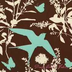 Joel Dewberry Bungalow Swallow Study Chocolate - SATEEN