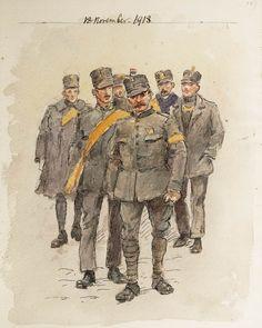 Soldaten, waaronder grenadiers en landstormers tijdens de steunbetuiging aan het koningshuis op 18 november 1918 op het Malieveld in Den Haag, na de 'revolutiepoging' van Troelstra. Uit het Schetsboek met 42 afbeeldingen van Nederlandse militairen tijdens de mobilisatie 1914-1918 van Jan Hoynck van Papendrecht.