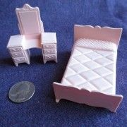 A beautiful set that includes twin bed and dressing table. They are all made of top-quality plastic