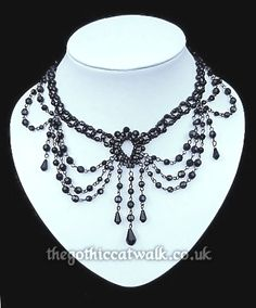 Black beaded Victorian choker