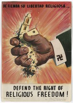 Defend the Right of Religious Freedom! (Theme No. 4 - Total War) WWII poster by Leon Helguera for the Office of War Information, 1940s