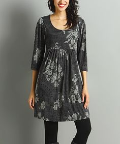 Loving this Charcoal & Gray Paisley Empire-Waist Dress on #zulily! #zulilyfinds