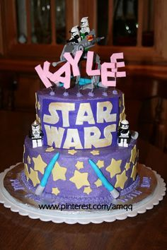 Pink and purple star wars cake for a little girl birthday.